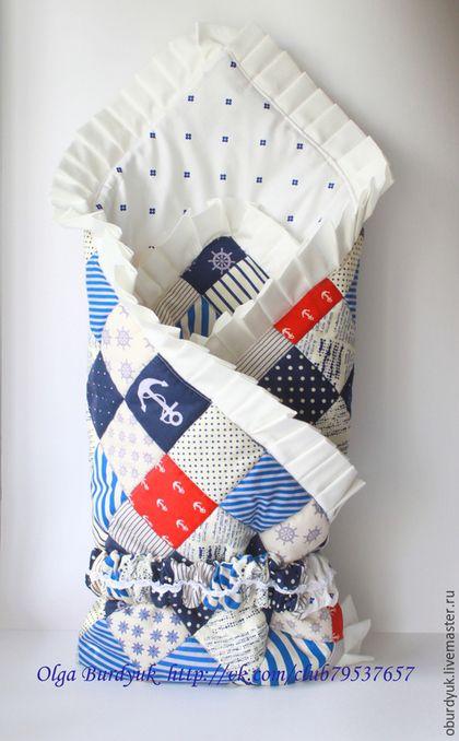Для новорожденных, ручной работы. Ярмарка Мастеров - ручная работа. Купить Одеяло-конверт на выписку. Handmade. Синий, морской стиль