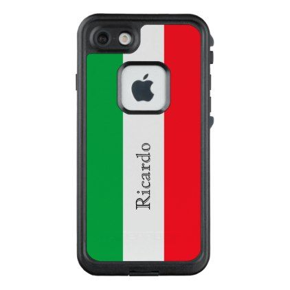 #white - #Custom flag of Italy green white red add name LifeProof® FRĒ® iPhone 7 Case