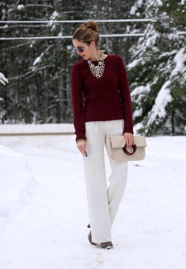 burgundy sweater statement necklace - Google Search - Autumn ...