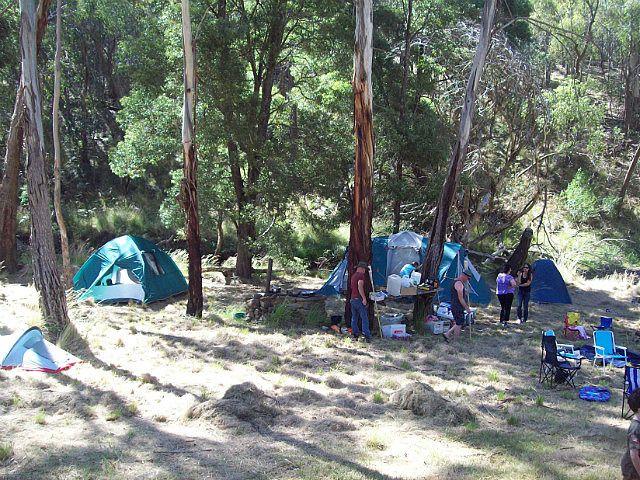 Setting up camp by the Lodden River, Glenlyon Victoria Australia