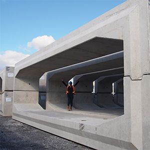 Precast concrete box culvert... bump out the front of the house , and adding the curve glass veranda