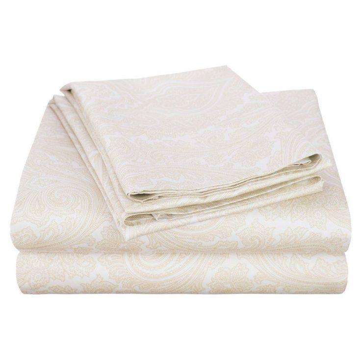 Superior Cotton Rich 600TC Italian Paisley Sheet Set White - CR600CKSH IPWH