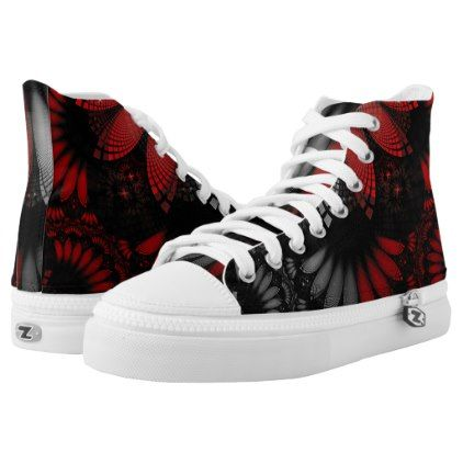 Blood Red & Black Fractal Feathers of the Vampire High-Top Sneakers - beautiful gift idea present diy cyo