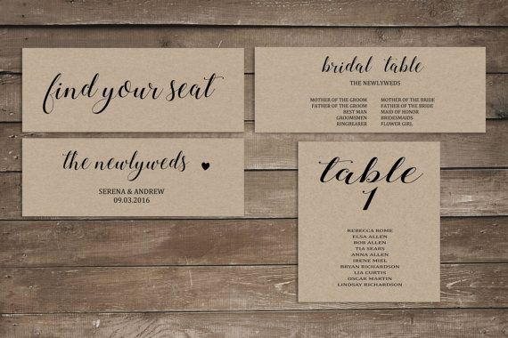 This is not a physical product. THE DETAILS: 1- Purchase the listing and download it. 2- Edit it using Microsoft Word (free trial from Microsoft). 3- Print! What you can edit: Names and dates. No need to download a font. This design is for a 5x7 print for the table cards.