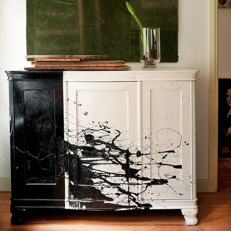 Take your cue from the work of Jackson Pollock and give a side cabinet a splash of paint with this Pollock-inspired technique