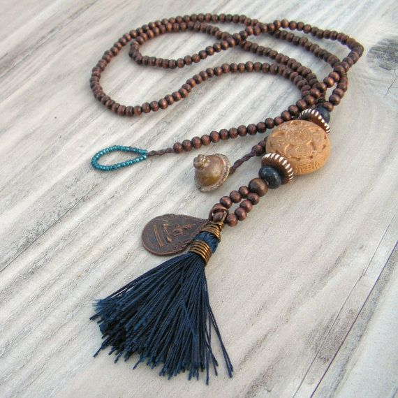 Mala Tassel Necklace in Dark Brown Wood with Navy Tassel and Buddha Amulet Pendant