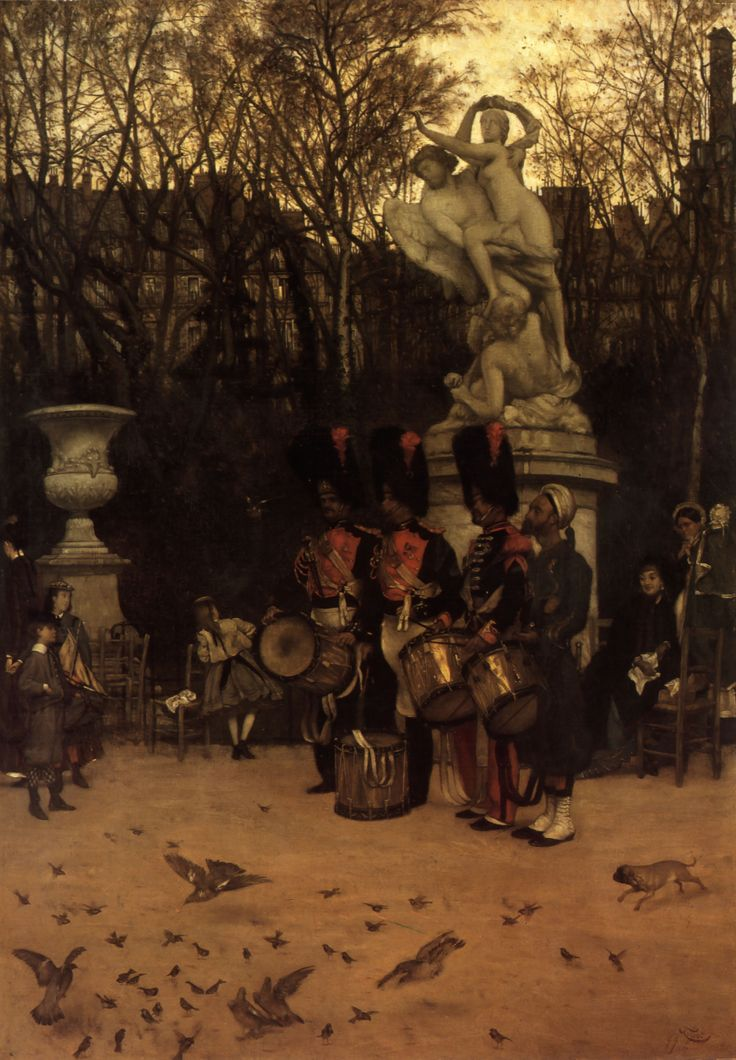 james tissot | Beating the Retreat in the Tuileries Gardens