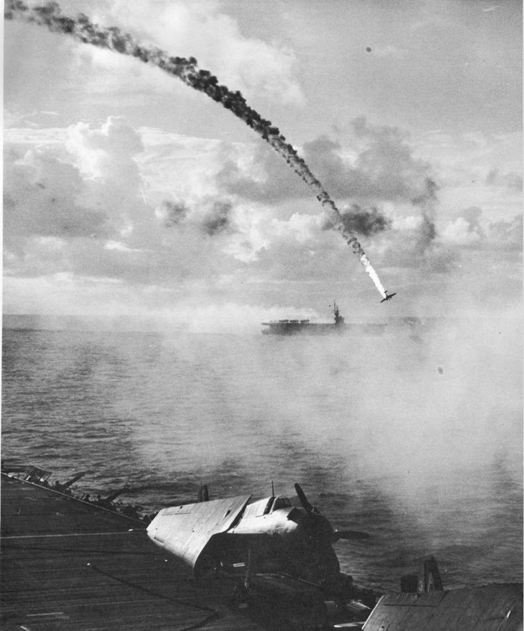 Japanese plane shot down during the Battle of Saipan, near Saipan; circa June 15 – July 9, 1944.