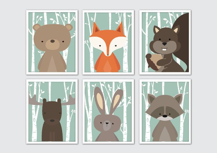 Woodland Animals Nursery Art, Woodland Nursery Prints, Racoon, Rabbit, Fox…