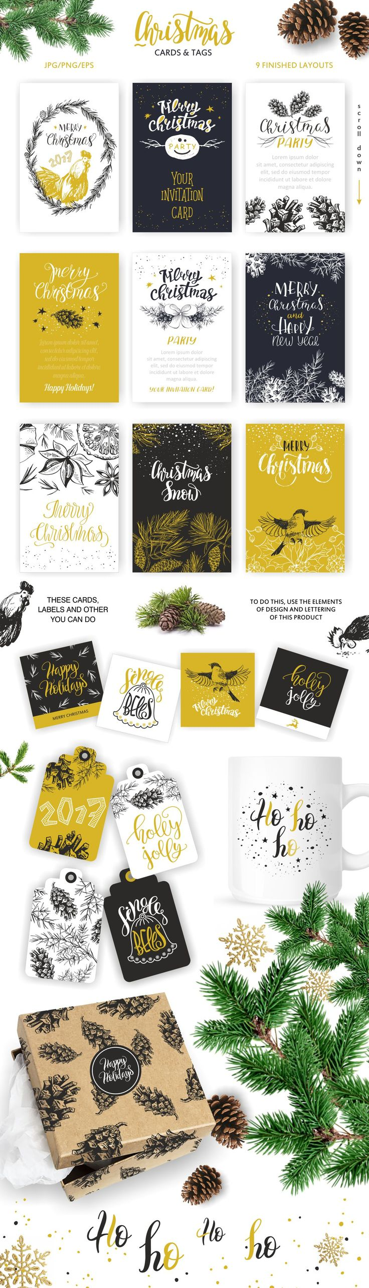 Christmas lettering & design element by OlgaAlekseenko on @creativemarket