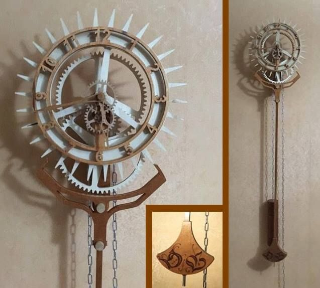 """Wooden clock """"Korona"""" from Daniel Boissy. Designed by Christopher Blasius. Plans available at holzmechanik.de"""