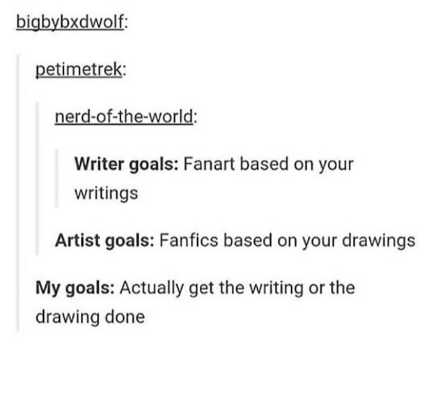 lmaoooo but what if you're both? what if you draw fanart for your fanfic YOURSELF (or vice versa)