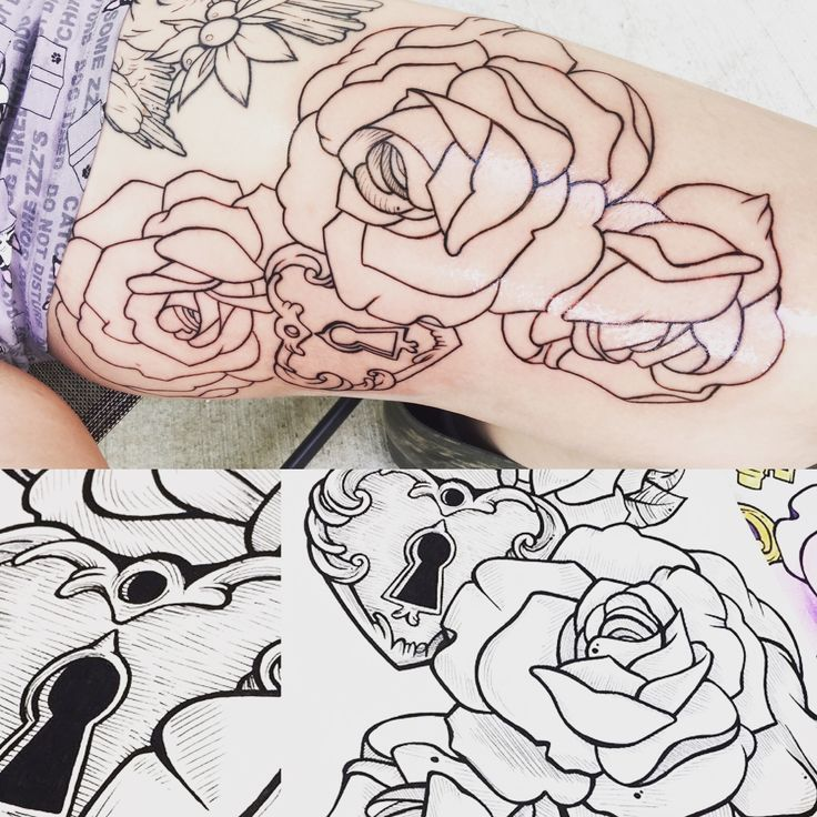 Good start on this thigh piece. Made from a custom painting I did years ago. #thigh #tattoo #rose #flower #neotraditional