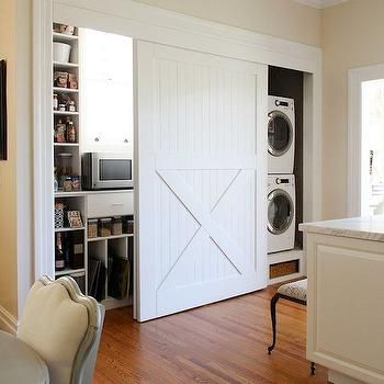 Hidden Laundry Rooms, Transitional, kitchen, Valspar Cream in My Coffee, Apartment Therapy