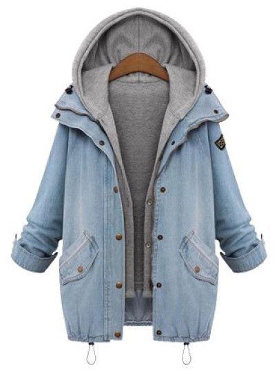 Zweiteiliger Jeans-Mantel mit Kapuze