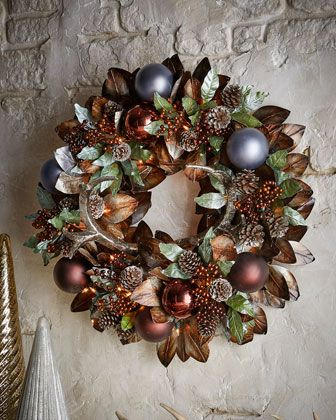 """Pewter+&+Bronze+Pre-Lit+28""""+Christmas+Wreath+at+Neiman+Marcus."""