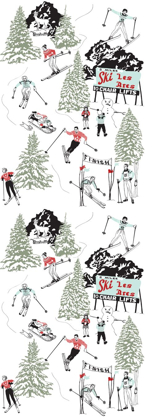 If there's one thing Dupenny looks forward to every winter it's our annual ski trip. Ski-ing, sledding, snowmen, snowballs... our Winter Sports wallpaper conjures up all the fun of hitting the slopes. All you'll need now is a log fire, hot chocolate and a woolly jumper with a reindeer on.  We love winter!
