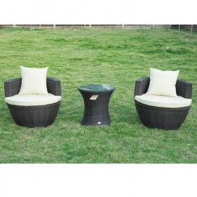 Conjunto 1 mesa y 2 sillas mueble mimbre ratan jardin for Muebles jardin mimbre