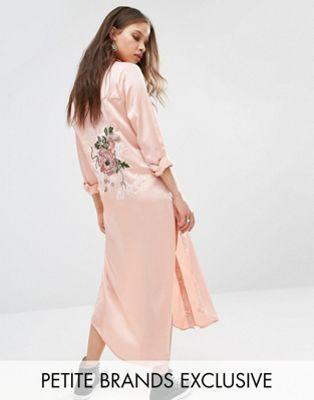 Glamorous Petite Long Sleeve Maxi Shirt Jacket With Back Embroidery