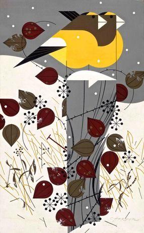 Artista: Charley Harper. Sitio oficial: http://charleyharperartstudio.com/  Grosbeaks. Pineado de: http://www.harperoriginals.com/charleys-originals/grosbeaks.html