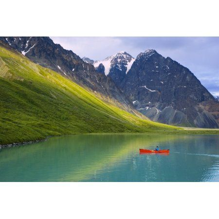 Woman Canoeing In Portable Canoe On Turquoise Lake At Lake Clark National Park Southcentral Alaska Summer Canvas Art - Michael DeYoung Design Pics (34 x 22)