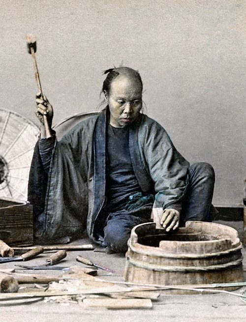 Making a wooden barrel. Hand-colored photo, about 1880's, Japan. Image via ookami_dou of Flickr