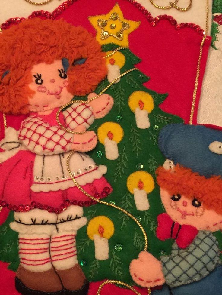 Vintage Bucilla 14 Quot Sequin Christmas Stocking Raggedy Ann