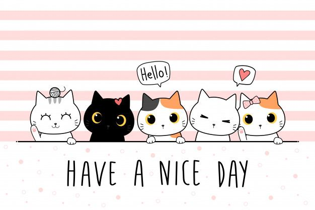 Cute Cat Kitten Family Greeting Cartoon Doodle Wallpaper Cover In