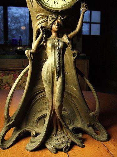 art nouveau figural mantle clock base: