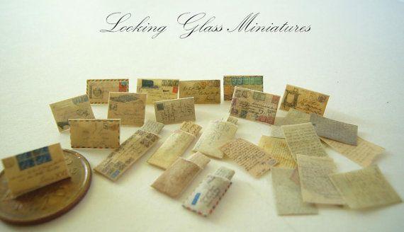 Half Scale 1/24 Vintage Miniature Mail by lookinglassminiature, $29.99