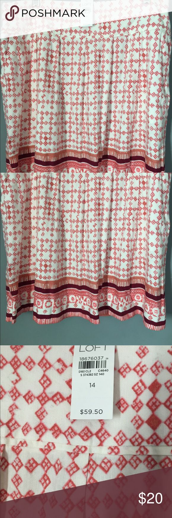 """ANN TAYLOR LOFT NWT Skirt Sz 14 NEW WITH TAGS Ann Taylor Loft Skirt Sz 14. Gorgeous linen/rayon blend. Cream background with muted coral and Bordeaux colors. Features pockets, back zipper and hook and eye closure. Measures 19 1/2"""" long. Please ask any and all questions prior to purchase. Ann Taylor Skirts Midi"""