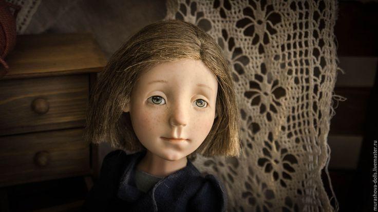 Купить Льняной горошек - синий, горошек, болтушка, авторская кукла, любить и жаловать, living doll