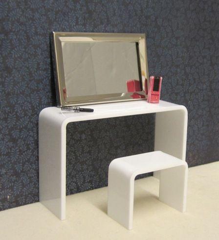 Minimalist dressing table and stool set, white   ELF Miniatures