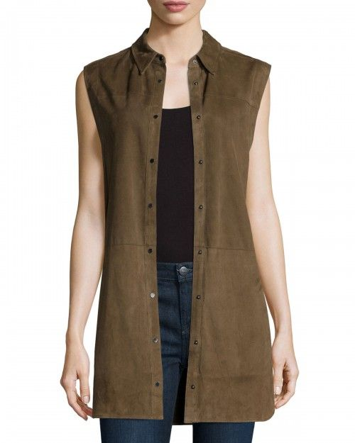 Vince+Suede+Sleeveless+Snap+Down+Tunic+Women's+14+Brown+|+Top,+Cloak+and+Clothing