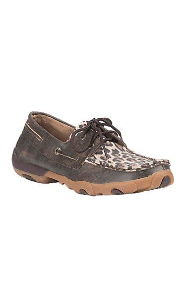 Twisted X Women's Chocolate with Cheetah Print Driving Moccasin | Cavender's