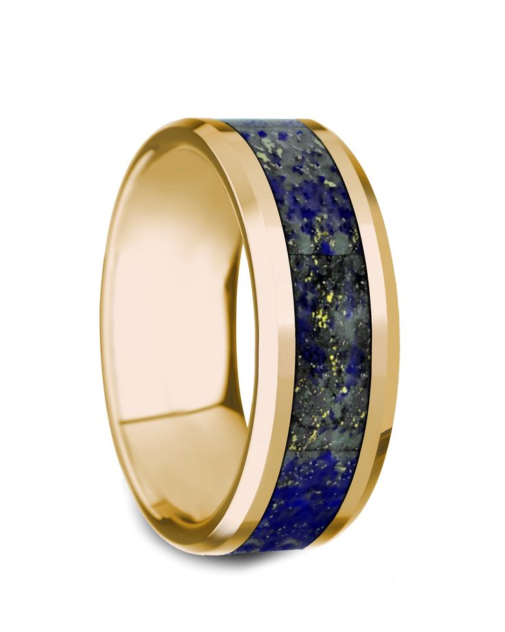 LAZARUS Beveled Polished 14K Yellow Gold Blue Lapis Lazuli Inlay - 8mm #goldring #lapisring