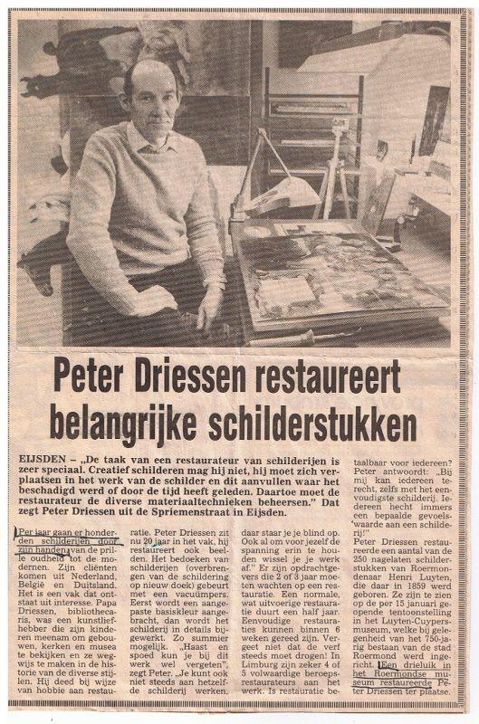 krantenartikel restaurator peter driessen 1982