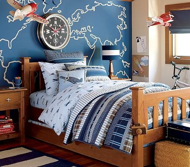I like the idea of a map in a transportation themed boys room.  Maybe not painted on the wall but in a large frame?  Or canvas?