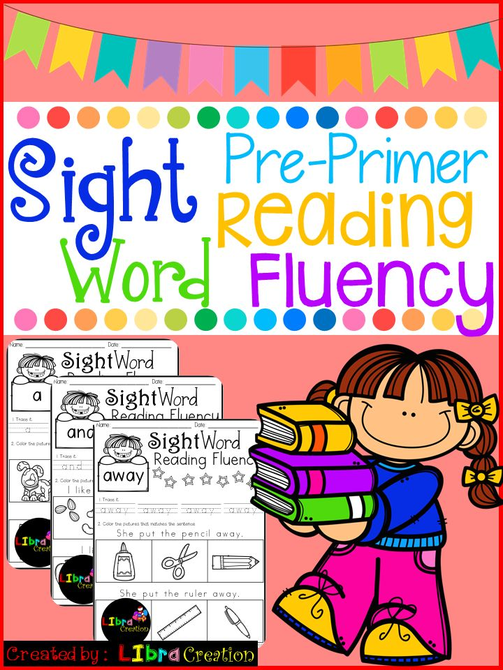 Sight Word Reading Fluency Pre-Primer  This product includes: * 40 pages of reading fluency. Your early reader needs to trace the word, to read the sentence and color the picture that matches with the sentence. It's simple and fun to teach them to follow direction.   Preschool, Preschool Worksheets, Kindergarten, Kindergarten Worksheets, First Grade, First Grade Worksheets, Sight Word, Sight Word Activities, Sight Word Activities The Bundle, Bundle, Sight Word, Sight Word Printables