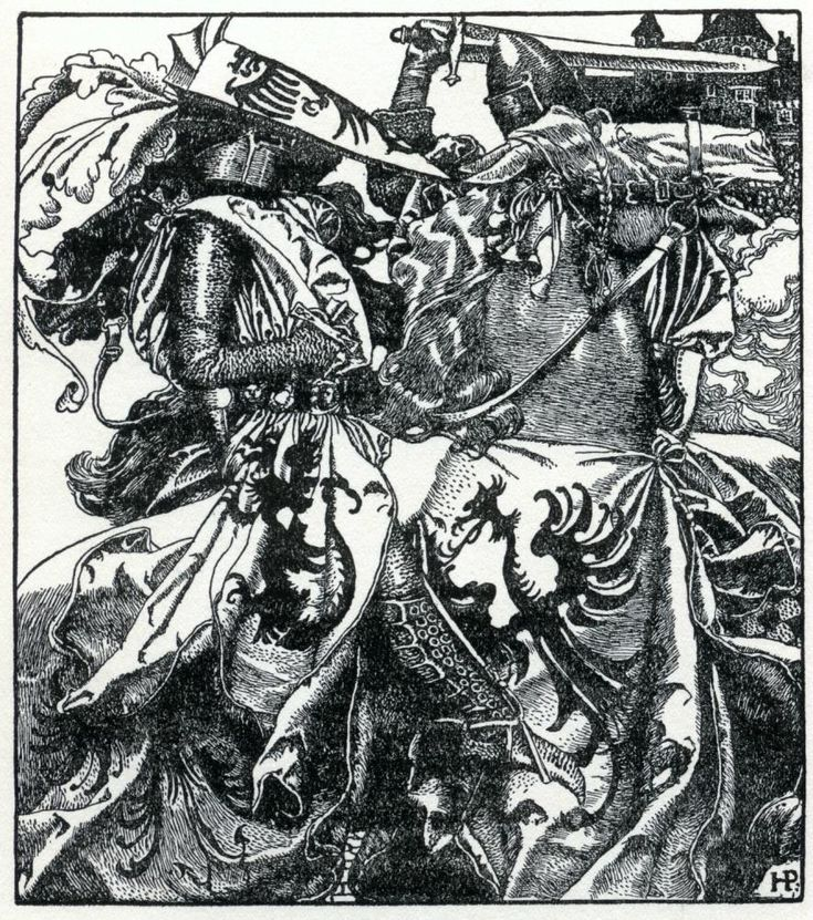 Sir Kay breaketh his sword at ye Tournament.  Howard Pyle