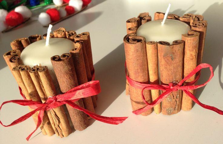 Cinnamon wrapped candles #Christmas #craft #shop #cbias