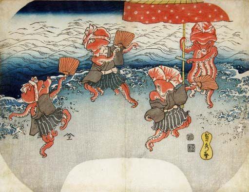 <蛸踊り: TAKO ODORI> DANCING BY OCTPUS KUNIYOSHI UTAGAWA 1798-1861 Last of Edo Period