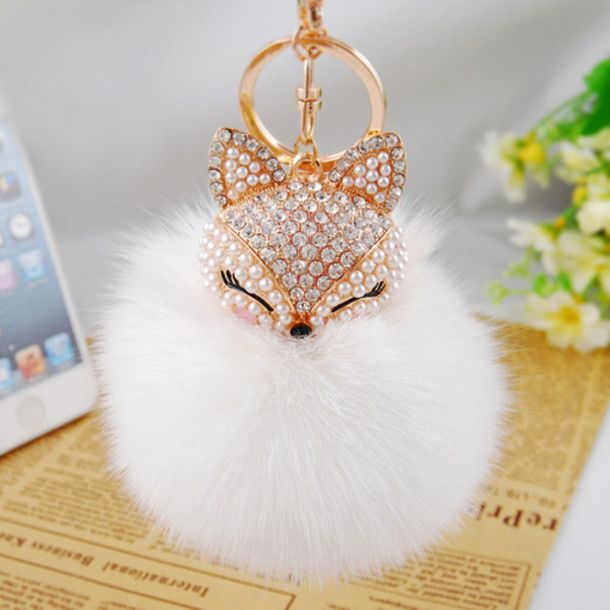Bag: keychain, accessories, fur keychain, love, fashion, style ...