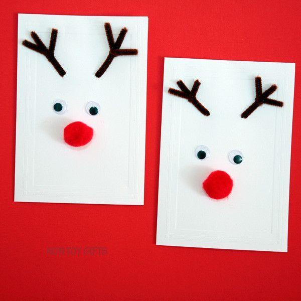 12 Easy Homemade Christmas Card Ideas For Kids Mums Make Lists Xmas Card Christmas Easy In 2020 Christmas Cards Kids Christmas Cards To Make Diy Christmas Cards