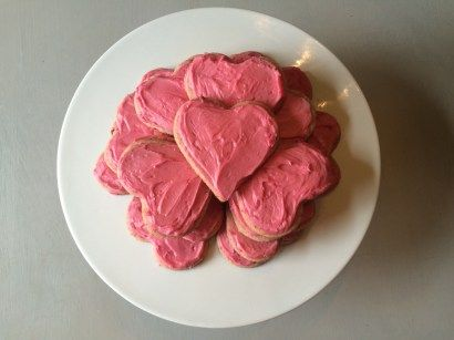 You'll love these strawberry cookies with pink icing! They include no red dye! Perfect for Valentine's Day, baby showers, and birthday parties.
