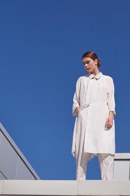 Купить Блуза КОМБИ с воротником длинная шёлк из коллекции «…И ВХОДИТ ЖЕНЩИНА» от Lesel (Лесель) российский дизайнер одежды