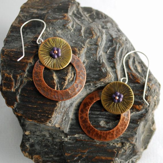 Copper Brass Disc Earrings with Czech Glass by BarbaraKayJewelry