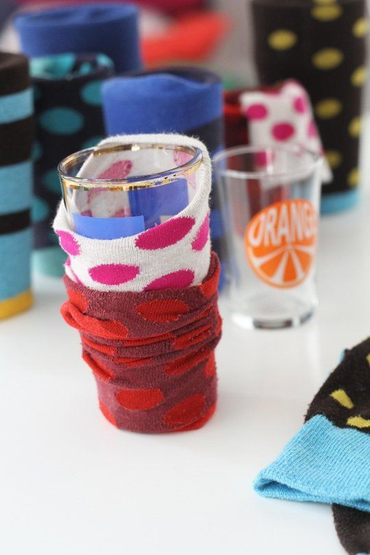 Use socks as packing material to protect glasses. (And wrap linena around the plates.) More moving tips + hacks on Apartment Therapy.