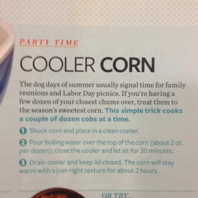 COOLER CORN - ingenious way to cook several dozen ears of corn on the cob for a cookout or BBQ