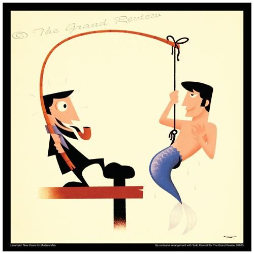 Cane Bamboo Fishing Pole, Lammers' New Views For Modern Man. CATCHING THAT MERMAN! Record Album Size For A Record Album Frame!